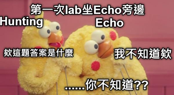 第一次lab坐Echo旁邊 Echo Hunting 欸這題答案是什麼 我不知道欸 ......你不知道??