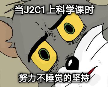 当J2C1上科学课时 努力不睡觉的坚持