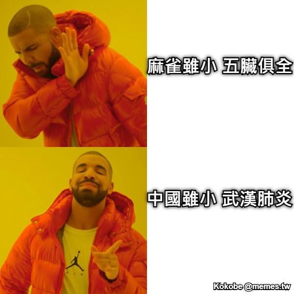 麻雀雖小 五臟俱全 中國雖小 武漢肺炎