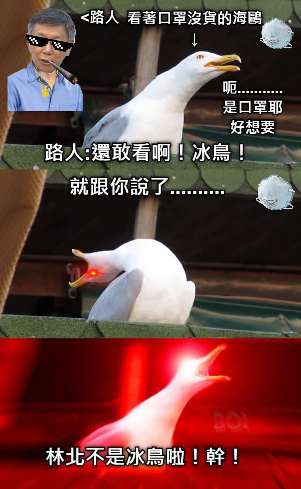 路人:還敢看啊!冰鳥! 就跟你說了.......... 林北不是冰鳥啦!幹! <路人 看著口罩沒貨的海鷗 ↓ 呃........... 是口罩耶 好想要