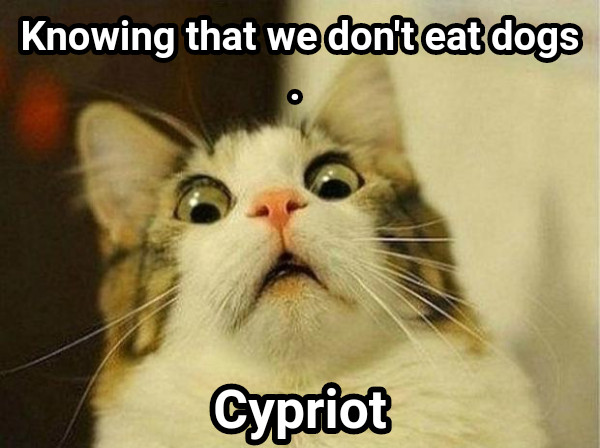 Knowing that we don't eat dogs. Cypriot