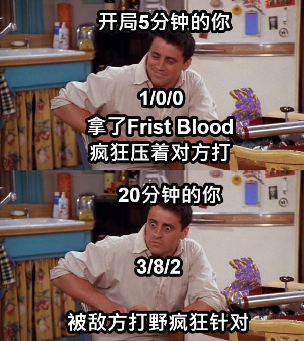 开局5分钟的你 拿了Frist Blood 疯狂压着对方打 20分钟的你 3/8/2 被敌方打野疯狂针对 1/0/0