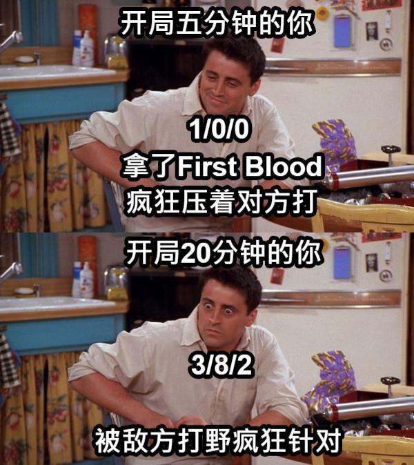 开局五分钟的你 拿了First Blood 疯狂压着对方打 1/0/0 开局20分钟的你 3/8/2 被敌方打野疯狂针对