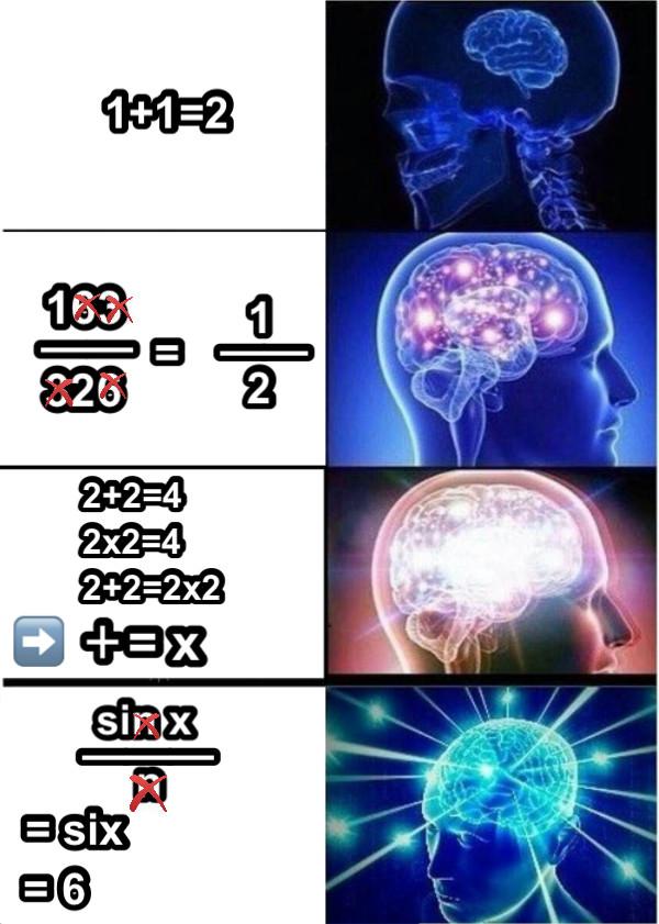 1+1=2 163 —— = 1 —— 326 2       2+2=4       2x2=4       2+2=2x2 ➡️ += x sin x ——— n = six  = 6