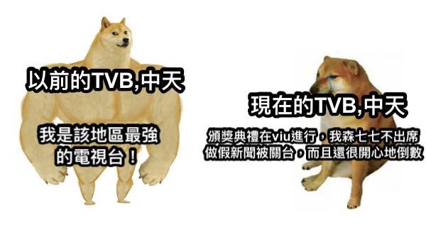 以前的TVB,中天 我是該地區最強的電視台! 現在的TVB,中天 頒獎典禮在viu進行,我森七七不出席 做假新聞被關台,而且還很開心地倒數